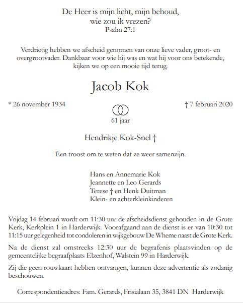 Overleden Jacob Kok Harderwijk