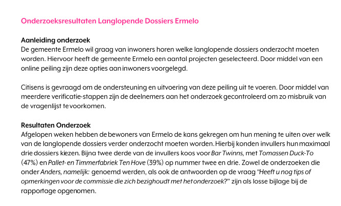 Langlopende dossiers Ermelo