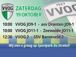 Voetbalwedstrijden VVOG Jo9-1 Jo11-1 en VVOG 2