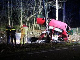 Bizarre crash tegen boom op de Leuvenumseweg in Ermelo, bestuurder zwaar gewond
