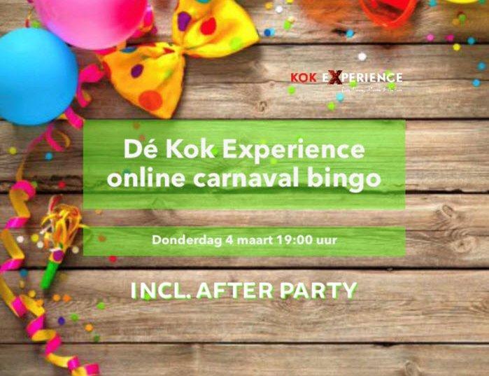 Doe mee met Dé Kok Experience online carnaval bingo