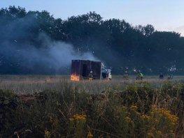 Paardentrailer in brand op de A28 richting Harderwijk