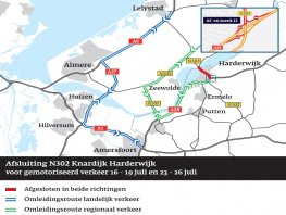 Weekendafsluiting N302 aansluiting Knardijk (Flevoland) en A28 aansluiting (13) Harderwijk | 23-26 juli